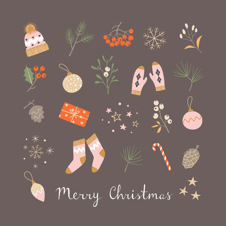 Christmas greeting card with winter holiday elements