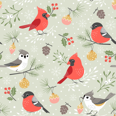 Christmas pattern with cute winter birds, mistletoe, holly berry, Christmas ornaments, pine cones and pine branches on snow background Ilustração