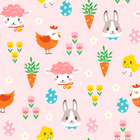 Easter seamless pattern with bunny, chickens, lamb, eggs and spring flowers on spotted pink background