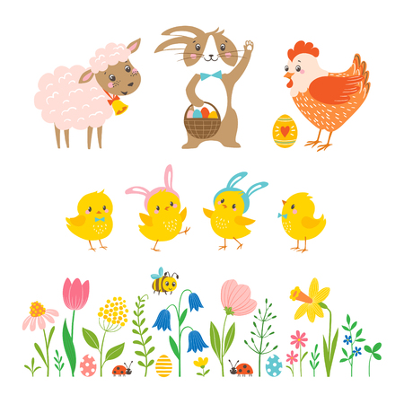 Easter set of cute  bunny, lamb, hen, chickens and spring flowers.