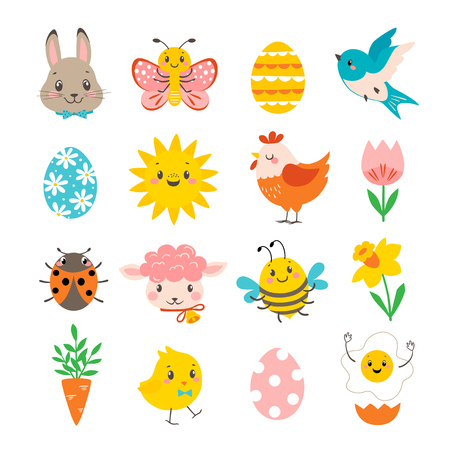 Set of cute Easter characters isolated on white background.