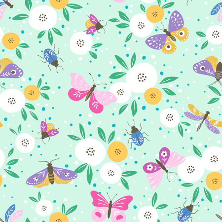 Seamless pattern of multicolored butterflies, insects and white flowers on light menthol color background.