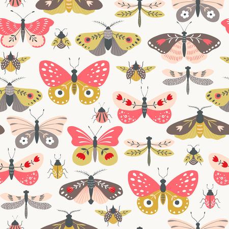 Seamless pattern of folk decorative butterflies, moths, dragonflies and bugs on light background. Illustration
