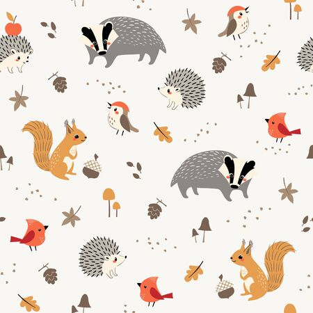 Seamless pattern of cute woodland animals and birds with autumn floral elements Illustration