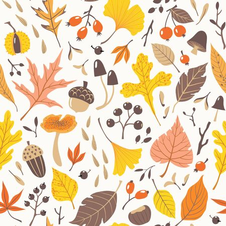 Seamless pattern of colorful autumn leaves, berries, seeds and mushrooms on light background. Illustration