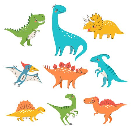 Set of cute colorful dinosaurs for kids design isolated on white background Vectores