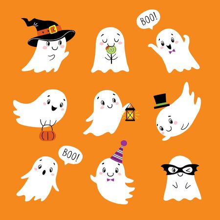 Set of cute little ghosts isolated on orange background for Halloween design.