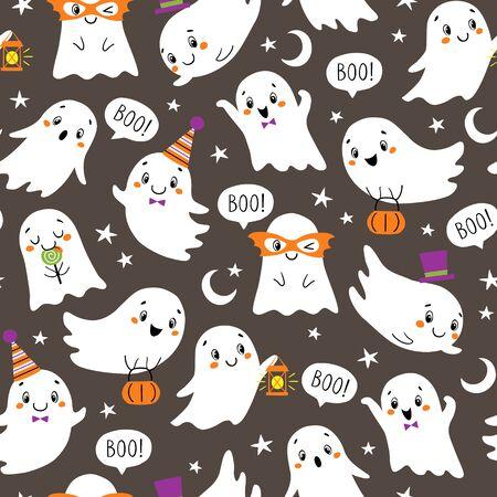 Seamless Halloween pattern of cute little ghosts on dark background. Illustration