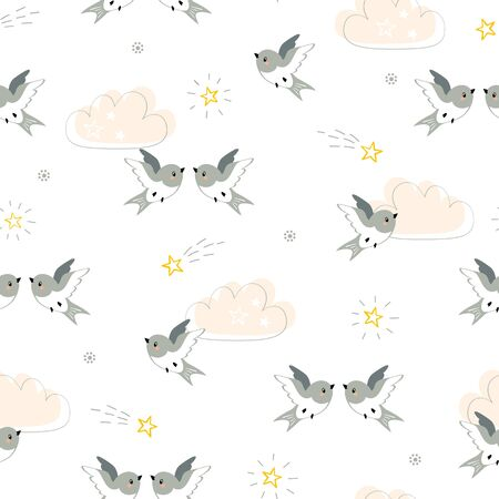 Seamless pattern of cute little birds flying in the sky with peach clouds and shiny stars Illustration