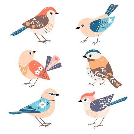 Set of cute colorful folk birds isolated on white background.