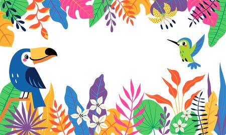 Bright colorful tropical background with cute toucan, hummingbird and place for your text. Vector image is cropped with clipping mask. Illustration