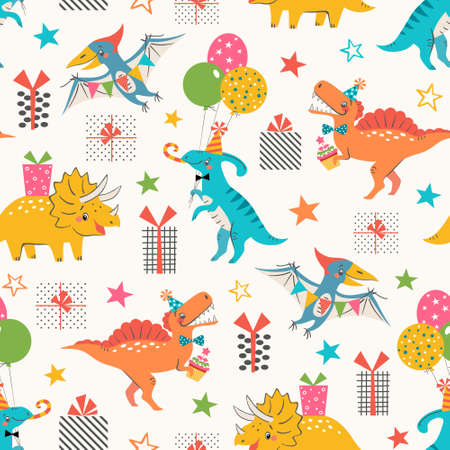 Birthday seamless pattern of cute colorful dinosaurs with gift boxes and stars on white background.