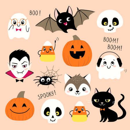 Halloween collection of cute cartoon characters such us vampire, skull, pumpkin, ghost, bat, werewolf, candy corn, spider and black cat.
