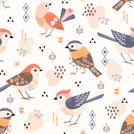Seamless folk style pattern of cute birds with geometric elements.