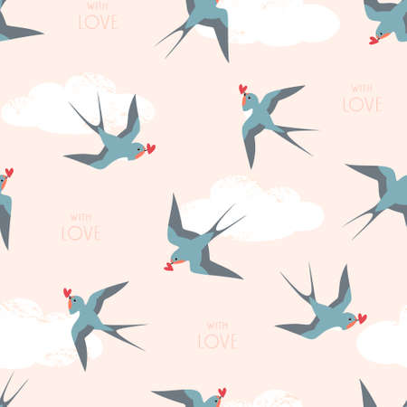 Seamless pattern of swallow birds with hearts flying in the cloudy sky and  background text.