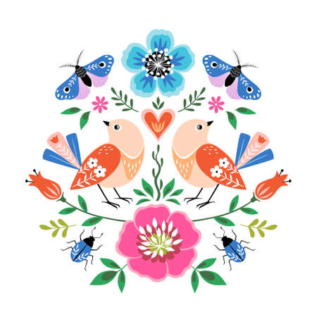 Bright colorful folk style illustration with birds, flowers, butterflies and bugs on white background.