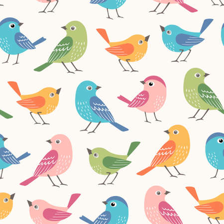 Seamless pattern of cute small multicolored  birds  on white