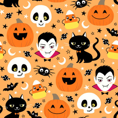 Seamless surface pattern of cute cartoon characters on orange
