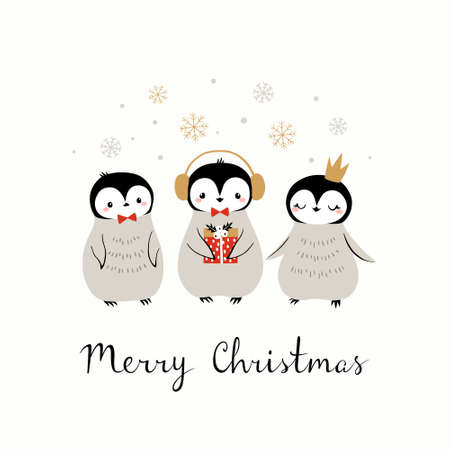 Christmas hand drawn greeting card with cute baby penguins on white background. Illustration