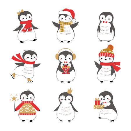 Set of cute funny baby penguins isolated on white background for Christmas design.