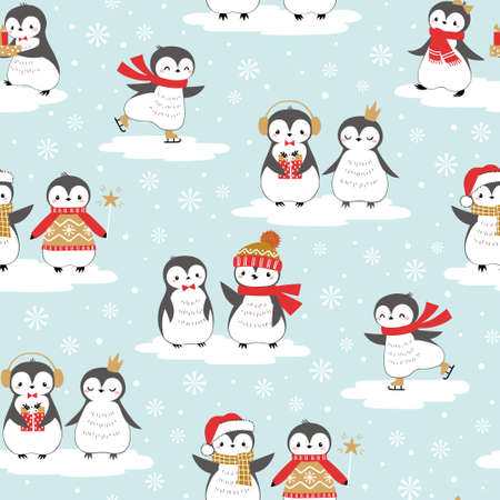Christmas seamless pattern of cute baby penguins on ice floes with snowflake background elements.