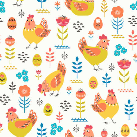 Vector seamless pattern of ornate chickens and Easter eggs with folk floral elements
