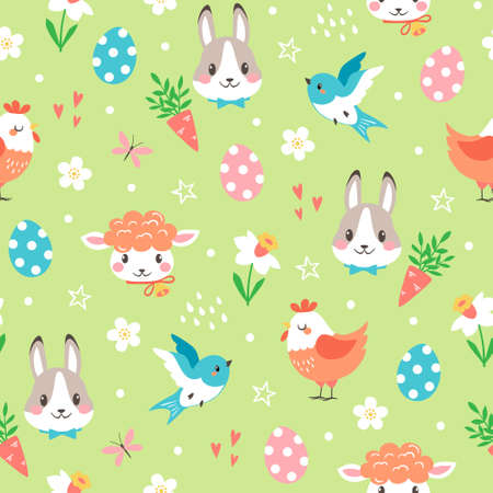 Vector seamless pattern of cute cartoon Easter bunny, chicken, eggs and lamb with spring floral elements on green background Illustration
