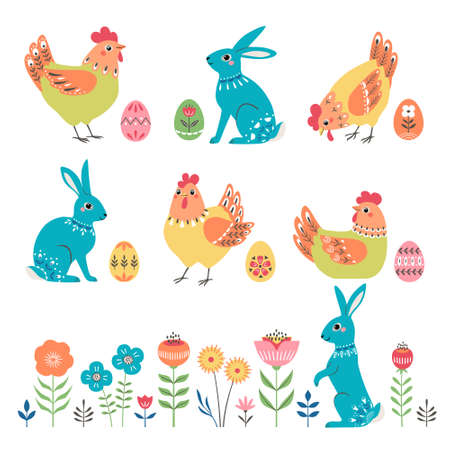 Set of ornate Easter rabbits, chickens, eggs and floral elements isolated on white background