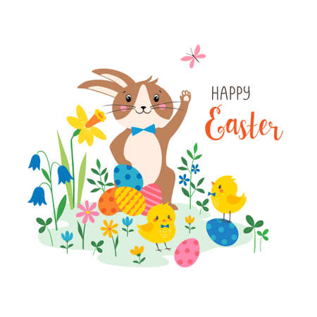 Happy Easter greeting card with cute bunny, chicks  colorful eggs and spring flowers.