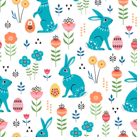 Seamless pattern of cute ornate Easter rabbits, eggs and floral elements on white background