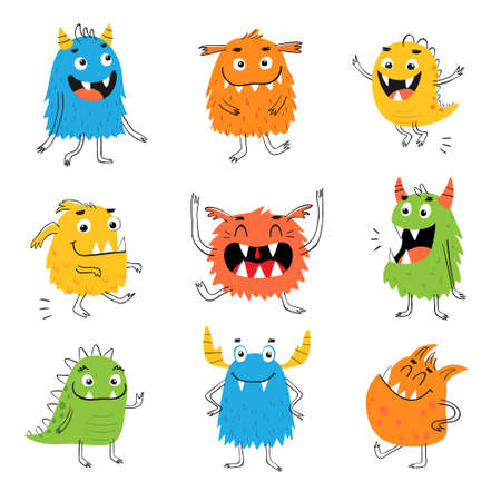 Set of hand drawn cute funny monsters isolated on white background. Character design for kids.