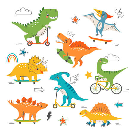 Set of cute funny dinosaurs riding skateboard, scooter, bike and roller skates. Cartoon cool dino characters and graphic elements for children's design