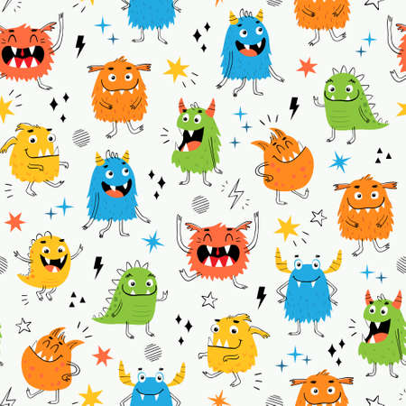 Vector seamless pattern of funny colorful monsters for kid's design