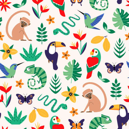 Vector seamless tropical pattern with  jungle stylized animals, birds, flowers and leaves on light background. Illustration