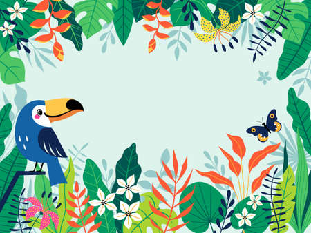 Bright colorful tropical background with cute toucan, butterfly, leaves, flowers and place for your text. Vector image is cropped with clipping mask.