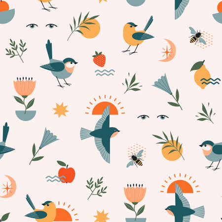 Seamless abstract pattern of nature elements with birds, flowers, fruit, plants, bees and geometric shapes. Illustration