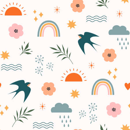 Boho minimalism summer seamless pattern with rainbows, swallows, sun, stars, clouds and floral elements