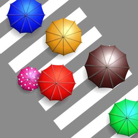 crosswalk: colorful umbrellas on crosswalk aerial view