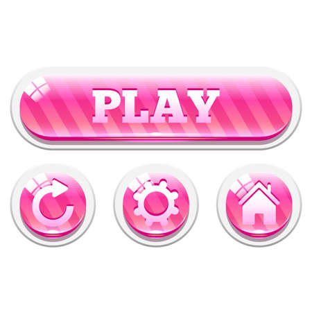 interface elements: Set of pink striped glassy buttons. Menu elements for web or game design. Interface elements Isolated on white background