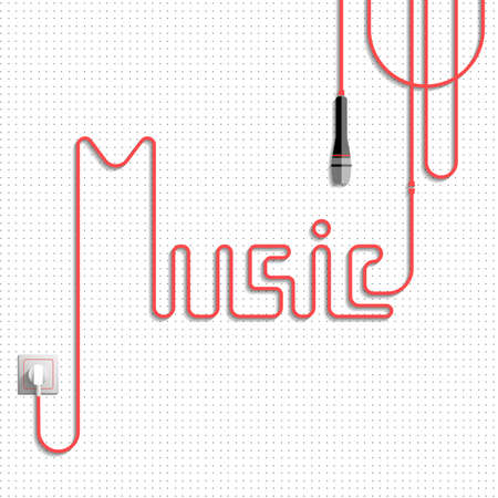 laid: Music. The word (lettering) music made of the cable (laid red cable), white background with gray points, power socket and microphone. Illustration
