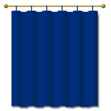 blue curtain: Close view of a blue curtain. Vector illustration