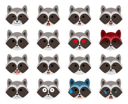 Set of emoticons. Modern minimalistic flat raccoon emoticons (emoji) set. Animal avatar or emoji heads. Raccoon with different emotions. Isolated on white background. Vector illustration