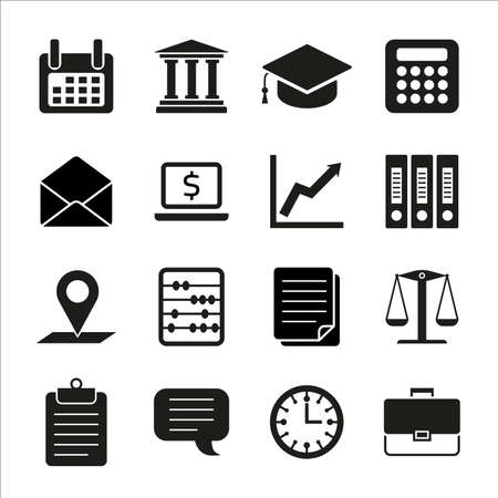 Taxes, law, finance concept flat icons: accounting, money, tax forms, taxation, tax return, accountant, calculator, finance. Vector illustration