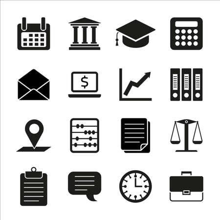 Taxes, droit, finance concept icônes plats: comptabilité, argent, formulaires fiscaux, la fiscalité, déclaration fiscale, comptable, calculatrice, finances. Vector illustration