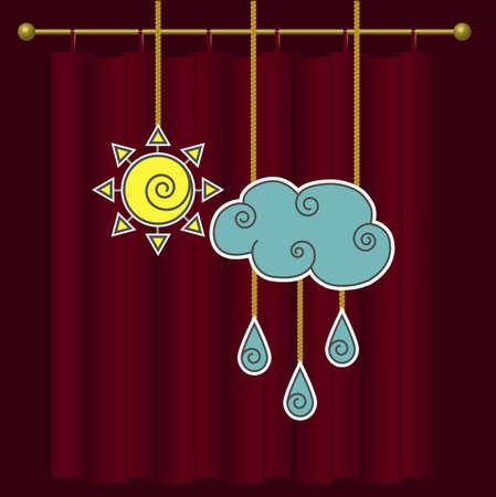 rain window: Vector weather forecast. Cloud, rain and sun