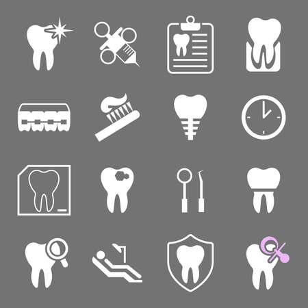 Set of white flat dental icons. Types of dental clinic services, equipment for dental care, dental treatment and prosthetics. Children's dentistry. Vector illustration Stock Illustratie