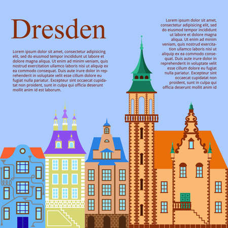 brownstone: Dresden. German city. Flat Cartoon background with old German building. Vector illustration Illustration