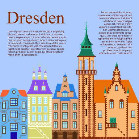 Dresden. German city. Flat Cartoon background with old German building. Vector illustration Illustration