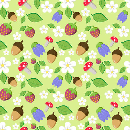 amanita: Forest seamless pattern for kids with flowers, mushrooms (amanita), leaves and acorns. Vector illustration Illustration