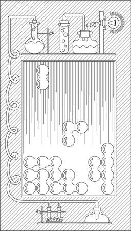 graphical user interface: Graphical user interface (GUI) and the playing field for a computer game, mobile game and application. Vector illustration. Black and white Illustration